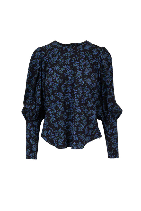 Veronica Beard Clarke Black & Blue Silk Puff Sleeve Blouse