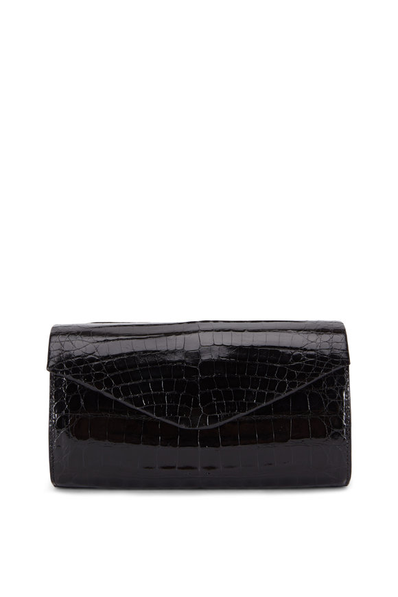 Nancy Gonzalez Black Glossy Crocodile Chain Convertible Clutch