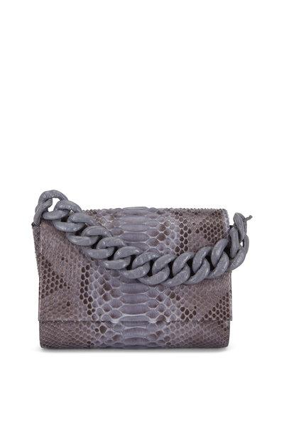 Nancy Gonzalez - Gray Python & Crocodile Chain Strap Small Bag