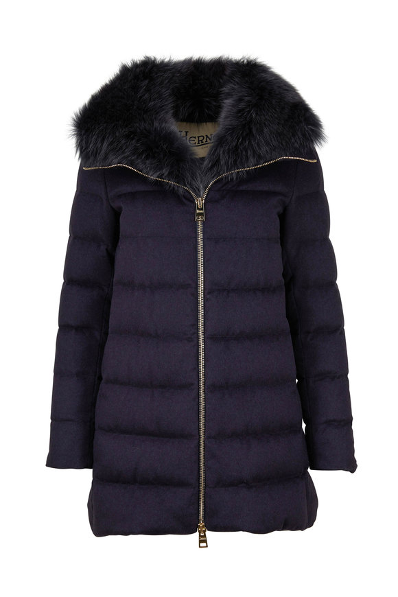 Herno Navy Blue Quilted Silk & Cashmere Fox Fur Coat