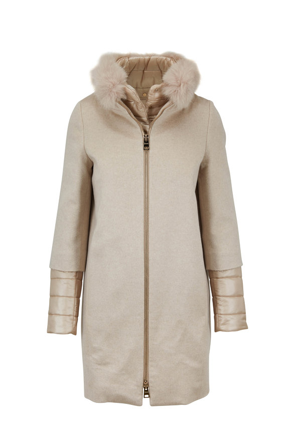 Herno Blonde Cashmere Removable Sleeves Fox Collar Coat