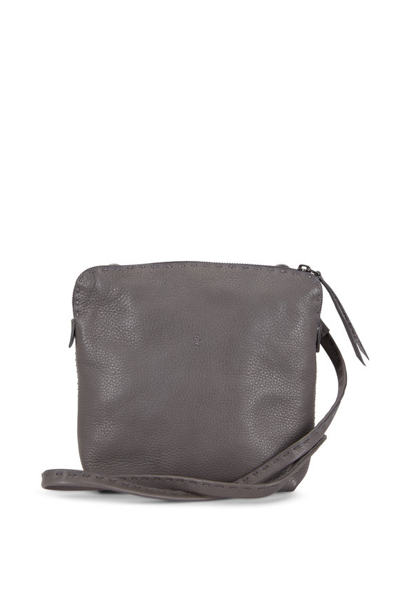 Henry Beguelin Imbuto Anthracite Leather Small Crossbody Bag