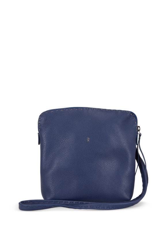 Henry Beguelin Imbuto Blue Leather Small Crossbody Bag
