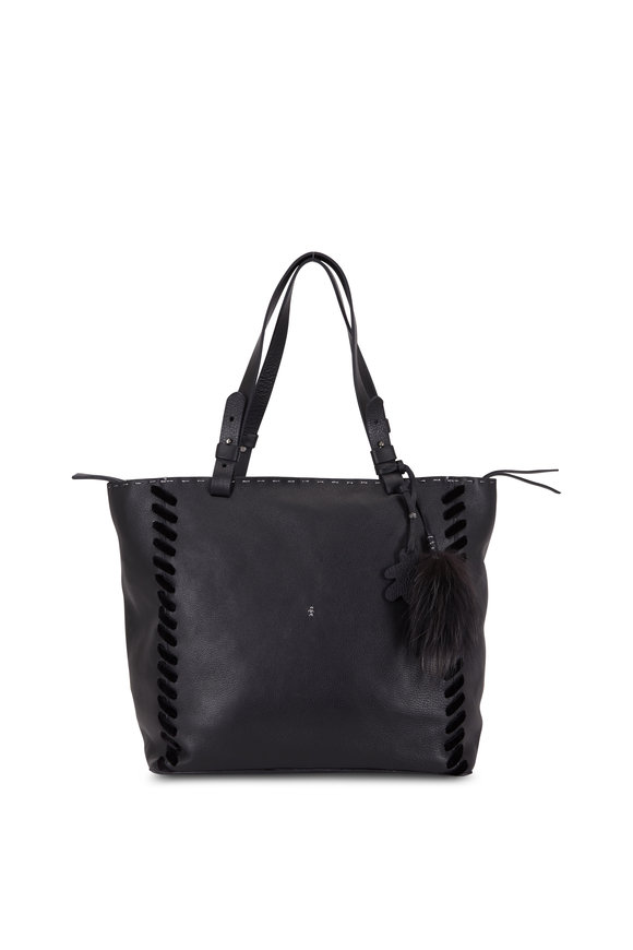 Henry Beguelin Ricamo Black Leather Stitching Detail Tote