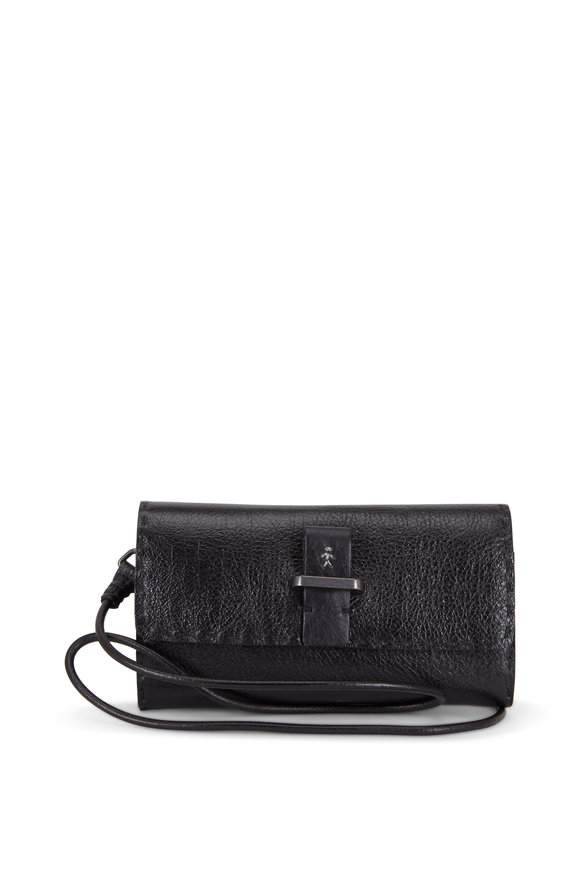 Henry Beguelin Ocean Black Leather Crossbody Wallet