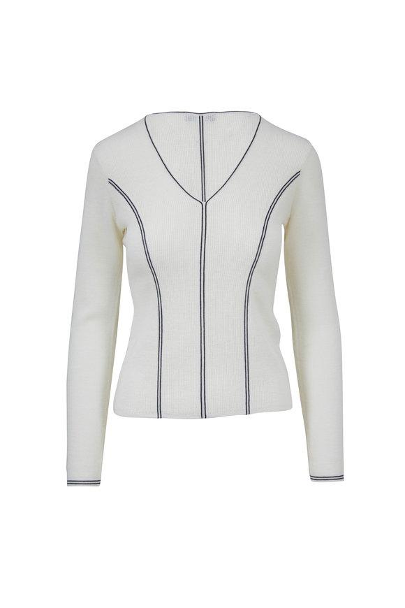 Rag & Bone Lavinia Ivory & Navy Wool V-Neck Sweater