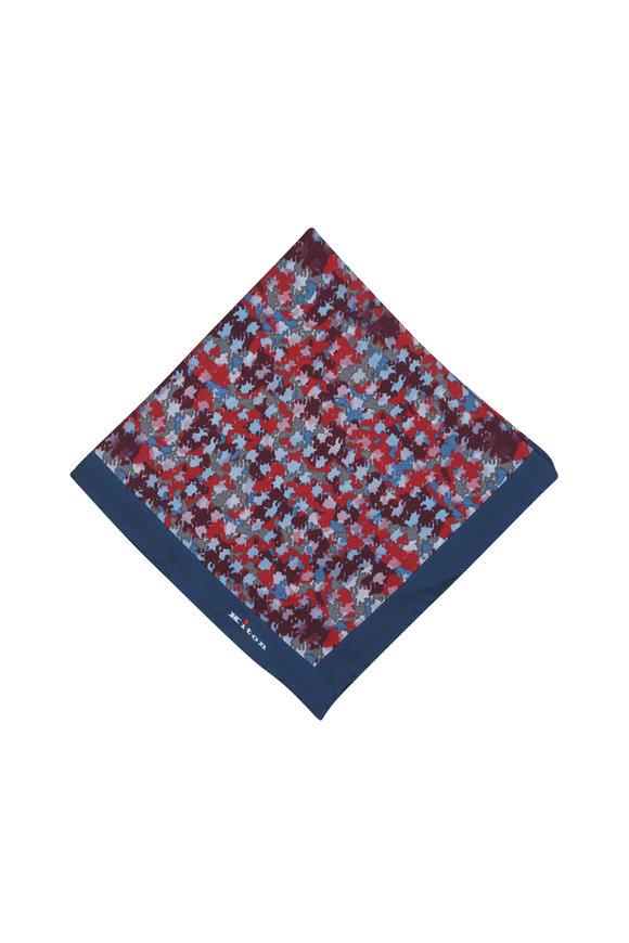 Kiton Red & Blue Abstract Silk Pocket Square