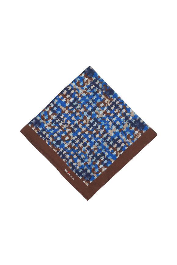 Kiton Blue & Brown Silk Abstract Pocket Square