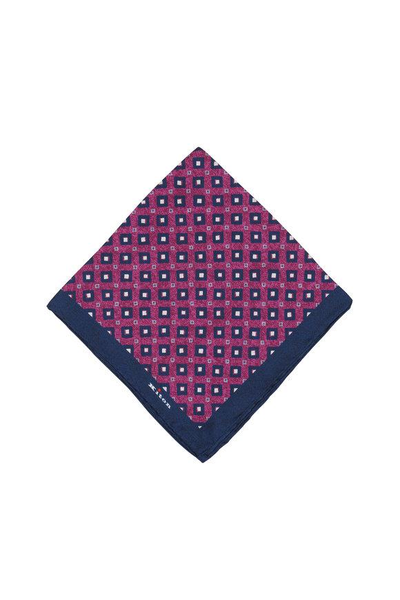Kiton Navy Blue & Fuschia Silk Diamond Pocket Square