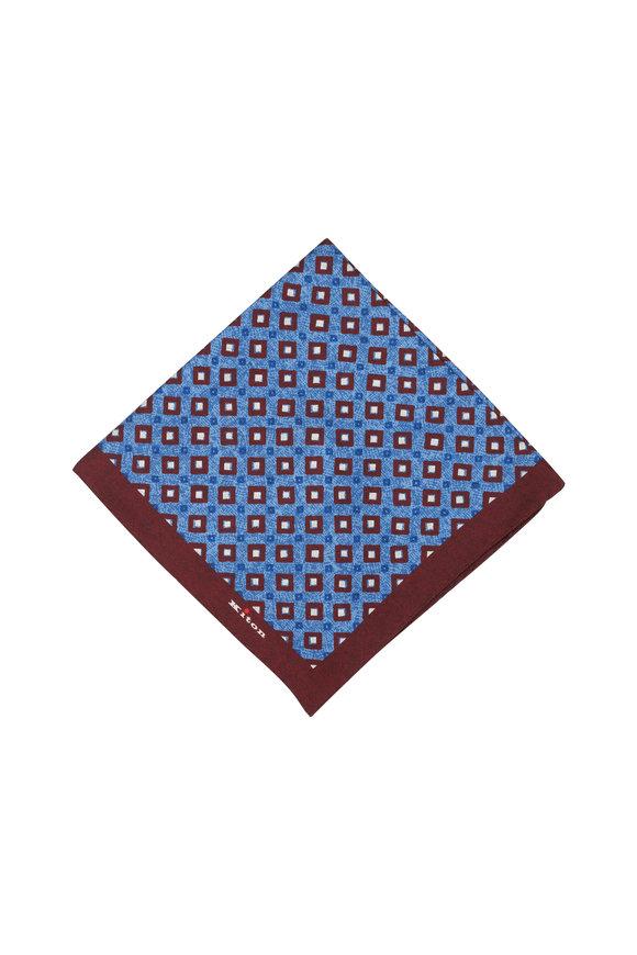 Kiton Burgundy & Blue Diamond Silk Pocket Square