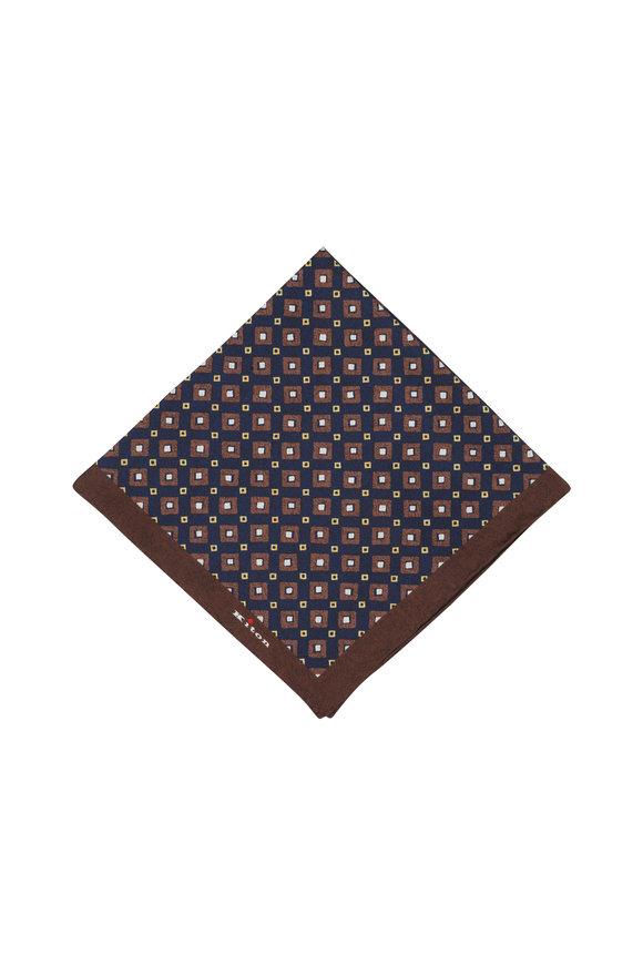 Kiton Brown & Navy Blue Diamond Silk Pocket Square