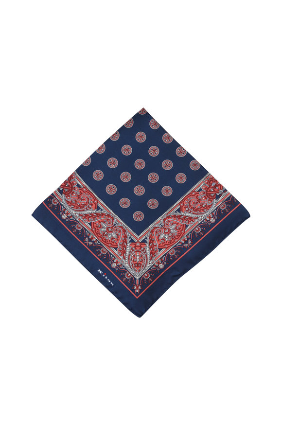 Kiton Navy Blue & Red Paisley Silk Pocket Square