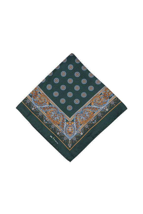 Kiton Hunter Green Paisley Silk Pocket Square