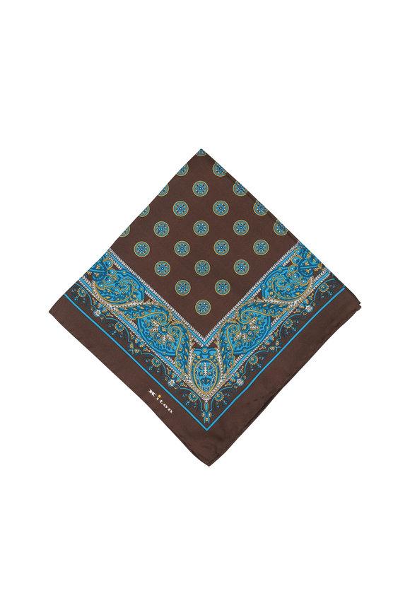 Kiton Brown & Teal Paisley Silk Pocket Square