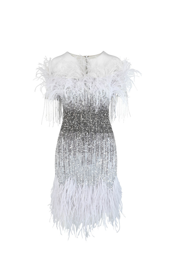 Pamella Roland Silver & Gunmetal Sequin & Feather Cocktail Dress