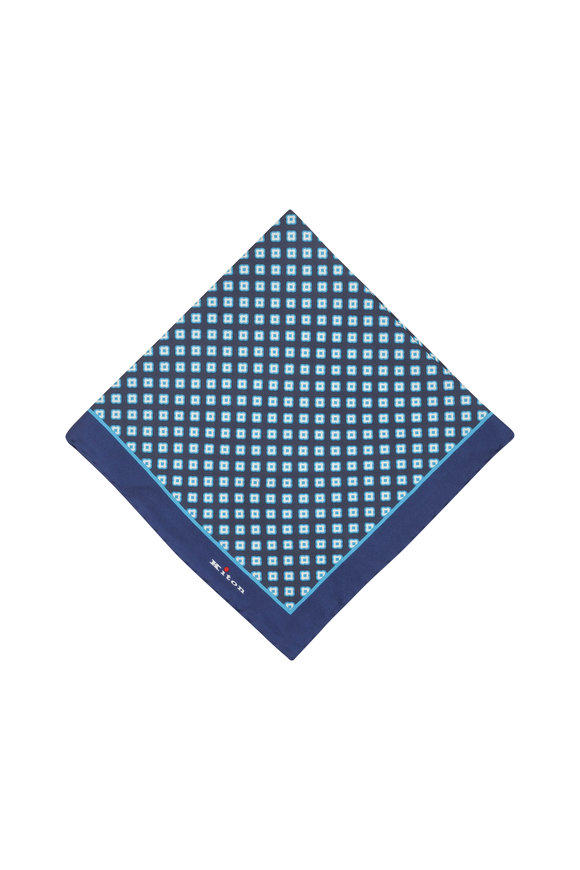 Kiton Blue Silk Medallion Pocket Square