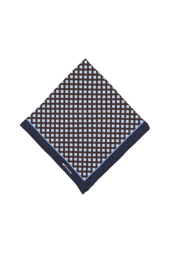 Kiton Brown & Blue Medallion Silk Pocket Square