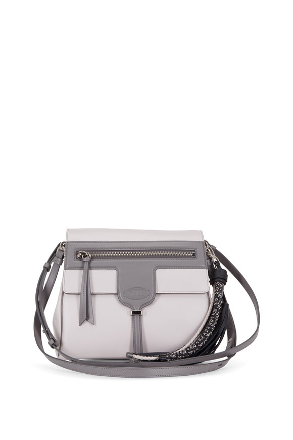 Tod's Thea Bi-Color Gray Leather Shoulder Bag