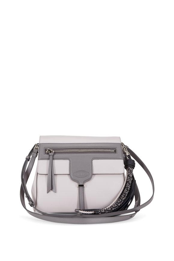 Tod's Thea Bi-Color Gray Leather Shoulder Bag