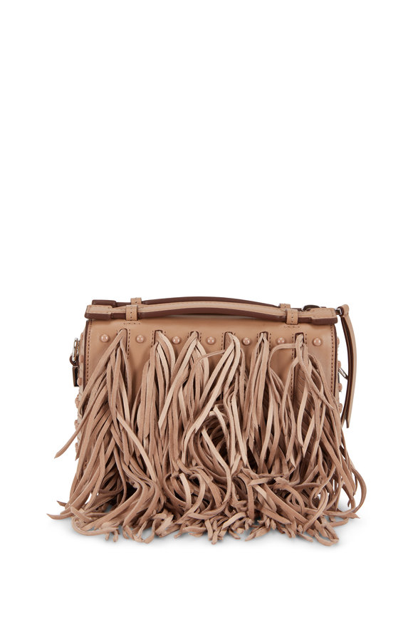 Tod's Gommino Tobacco Leather Fringed Mini Bag