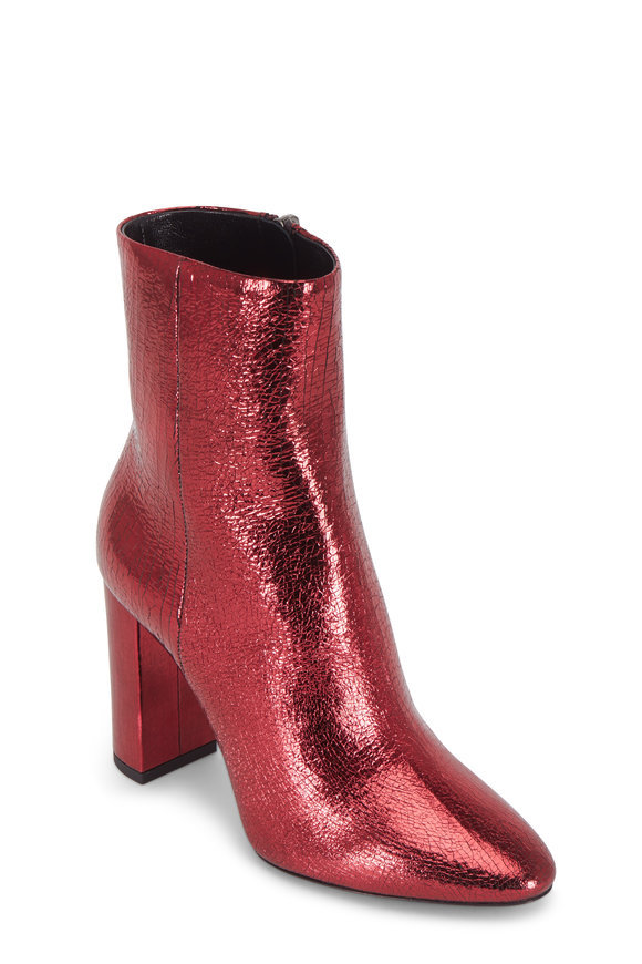 Saint Laurent Loulou Red Crackled Metallic Leather Bootie, 90mm