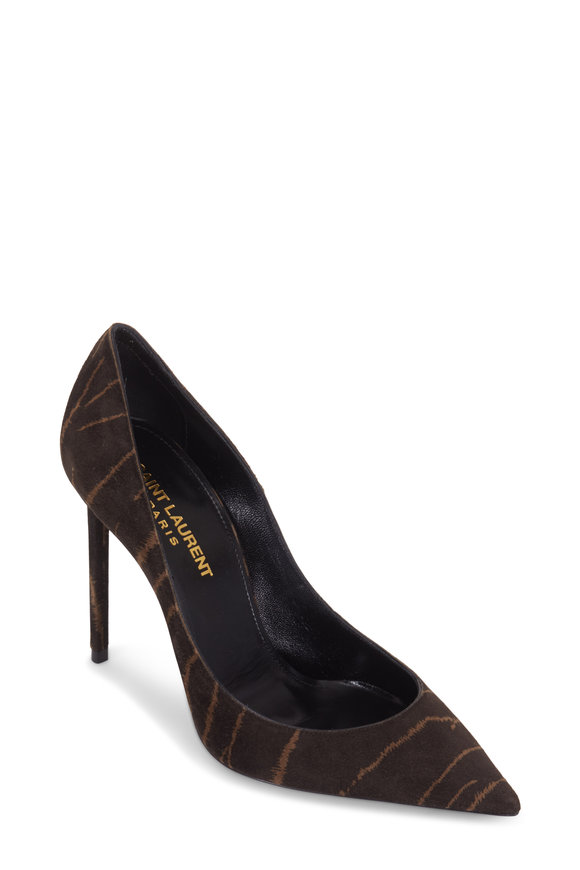Saint Laurent Zoe Black & Coffee Tiger Print Calfhair Pump,105mm