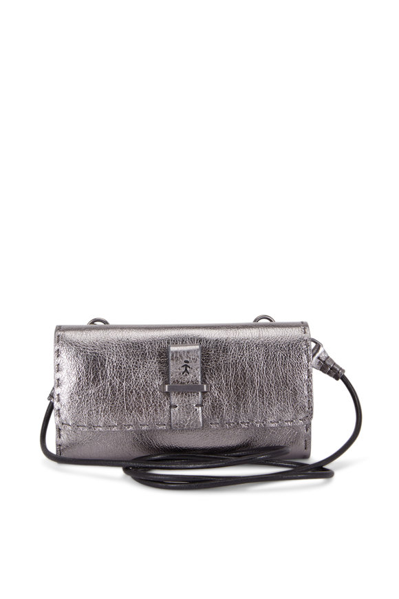 Henry Beguelin Anthracite Metallic Leather Crossbody Wallet