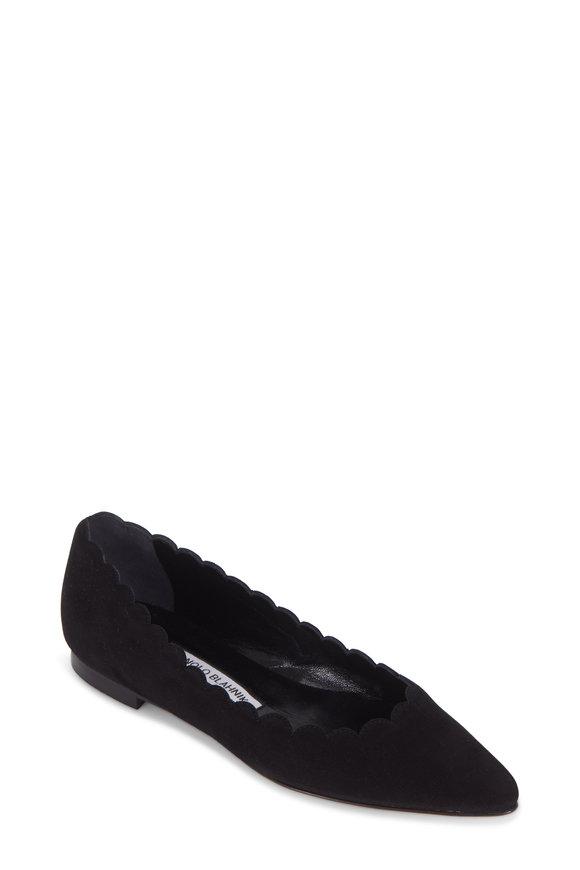Manolo Blahnik Srilasfla Black Suede Scallop Flat