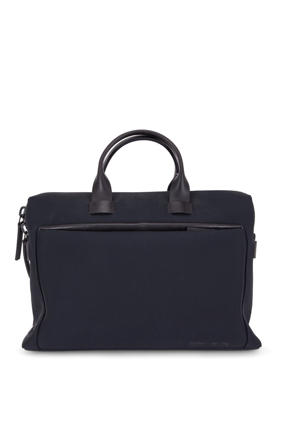 Troubadour Navy Blue Canvas & Leather Slim Briefcase