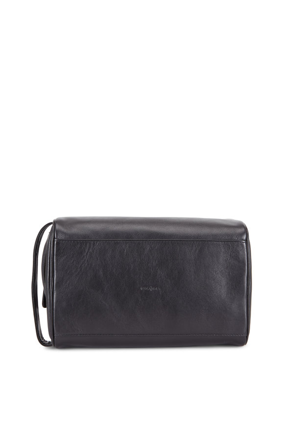 Bosca Black Leather Double Zip Dopp Kit