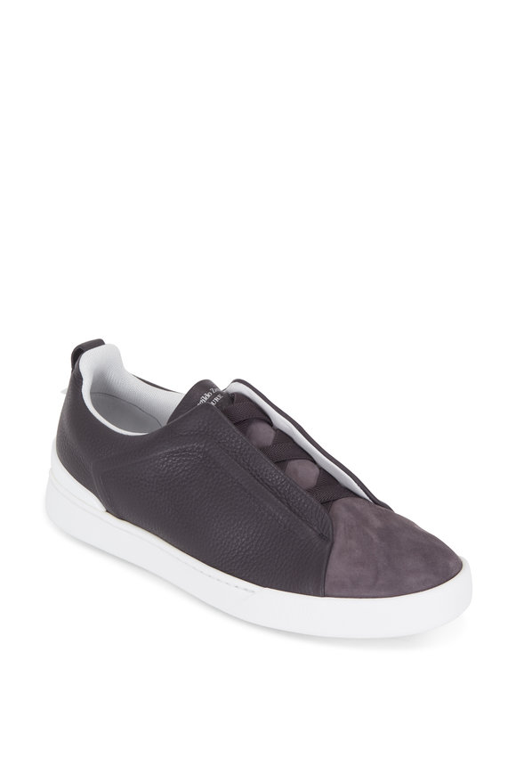 Ermenegildo Zegna Triple Stitch Dark Gray Leather & Suede Sneaker