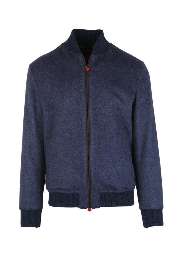 Kiton Slate Blue Cashmere Bomber Jacket