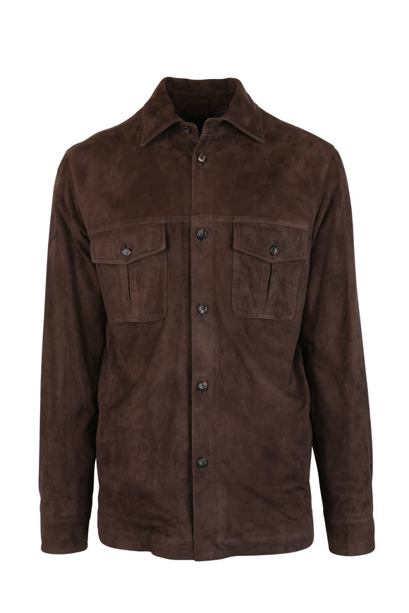 Luciano Barbera Brown Suede Overshirt