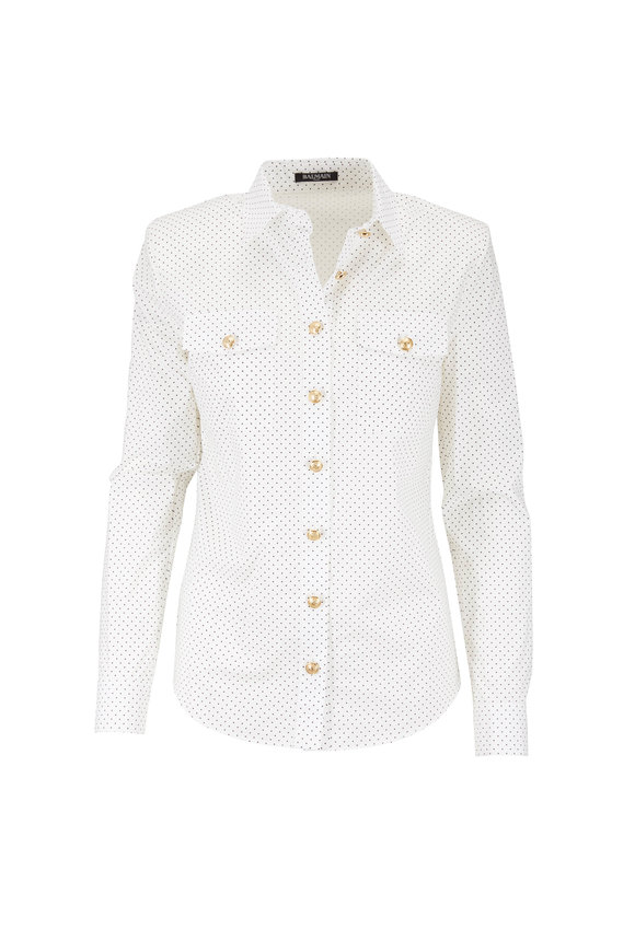 Balmain White & Black Dot Cotton Button-Up
