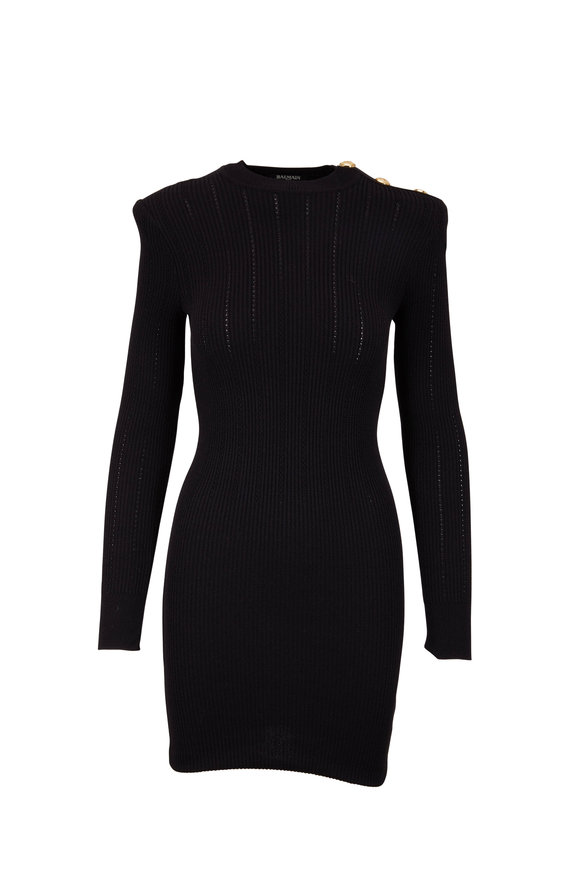 Balmain Black Knit Long Sleeve Fitted Dress