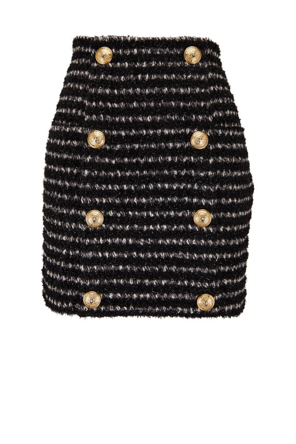 Balmain Black & White Tweed Mini Skirt