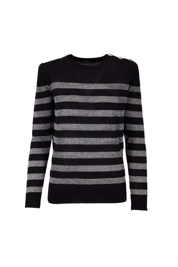 Balmain Black & Silver Lurex Stripe Lightweight Sweater