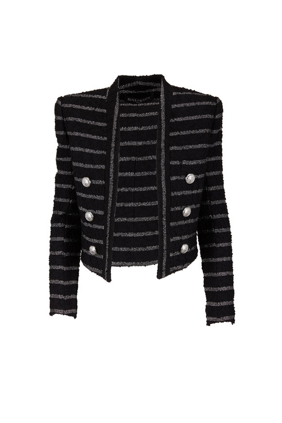 Balmain Black & Metallic Striped Bouclé Short Jacket