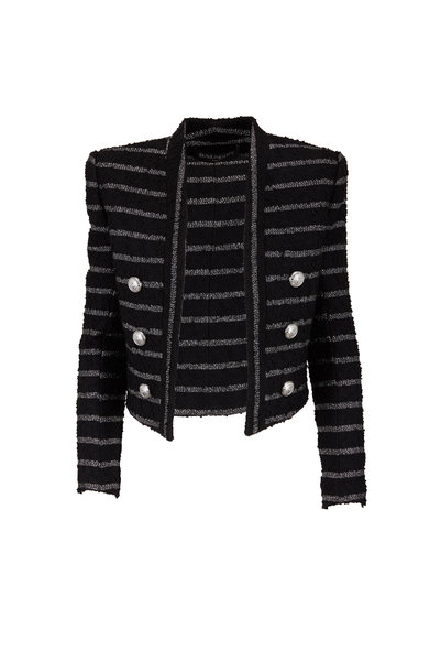 Balmain - Black & Metallic Striped Bouclé Short Jacket