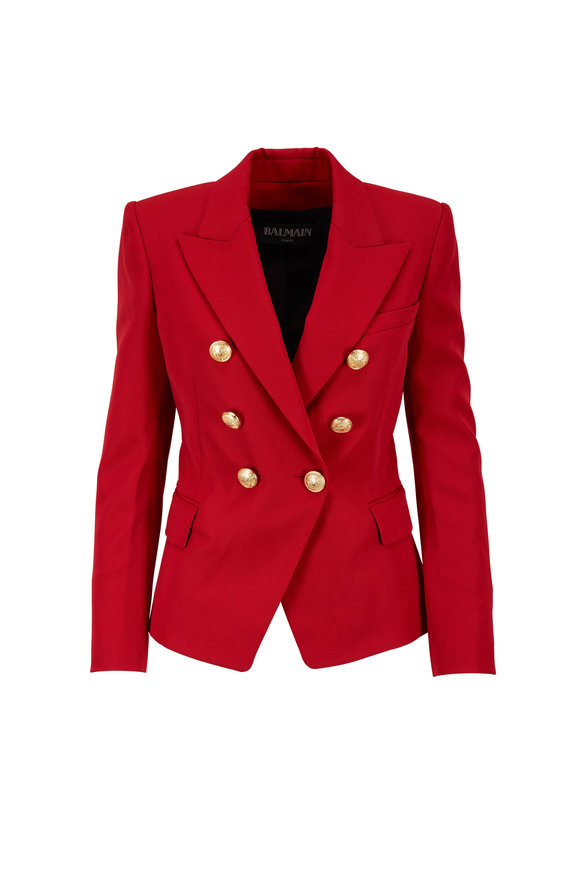 Balmain Red Wool Double-Breasted Six Button Blazer