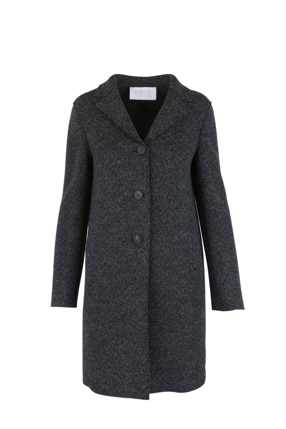 Harris Wharf Anthracite Felt Wool Boxy Military Coat