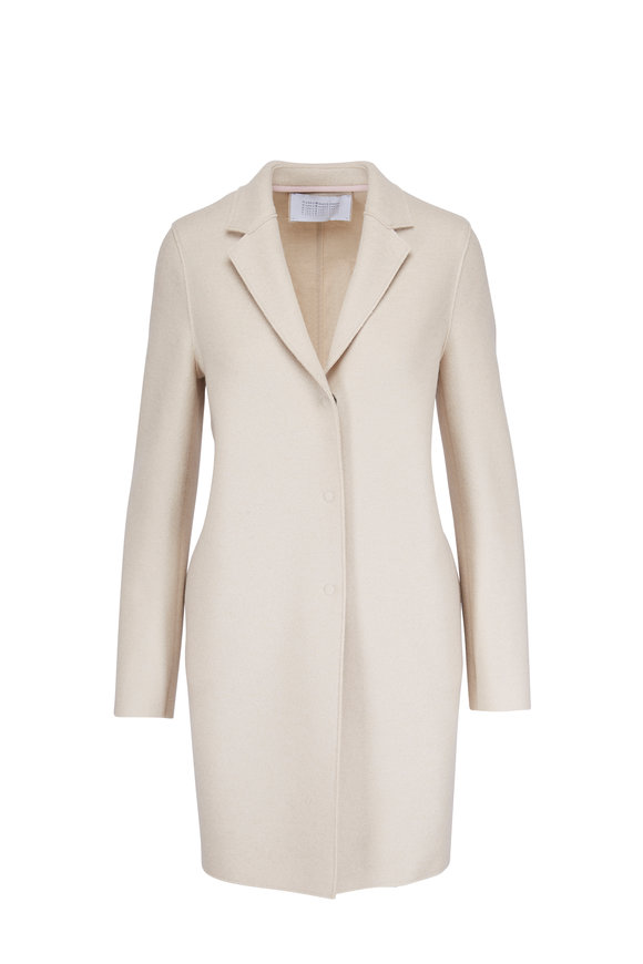 Harris Wharf Cream Pressed Wool Cocoon Coat
