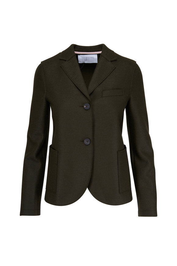 Harris Wharf Olive Green Wool Short Boyfriend Jacket