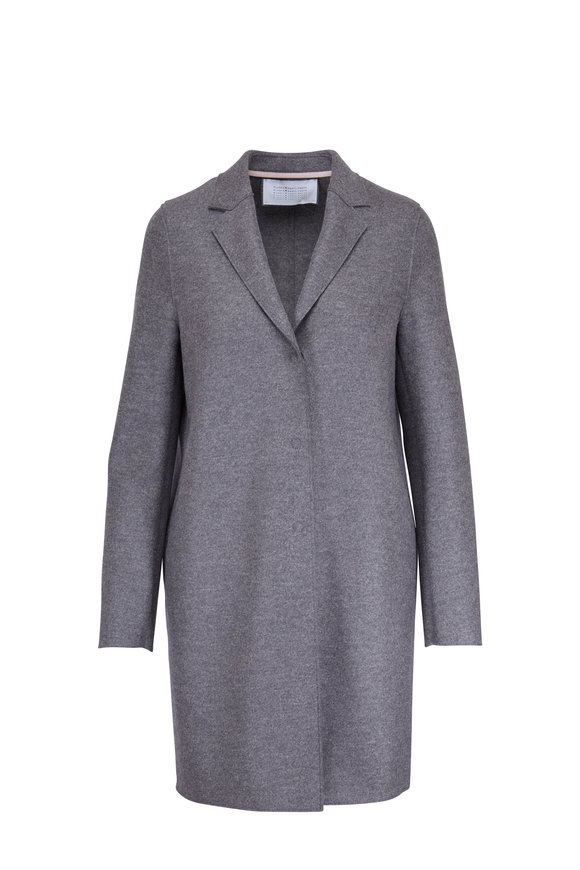 Harris Wharf Cocoon Charcoal Gray Pressed Wool Coat