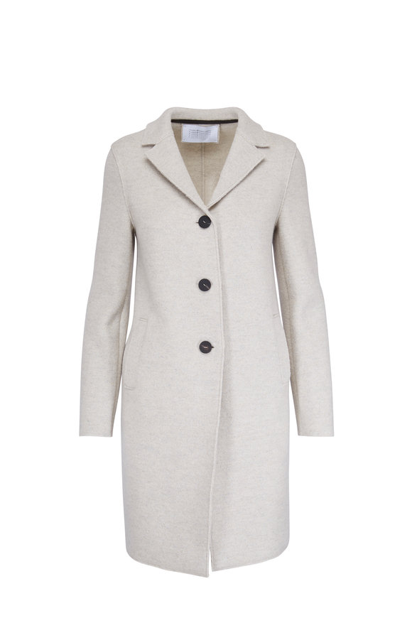 Harris Wharf Cream Wool Felt Boxy Military Coat