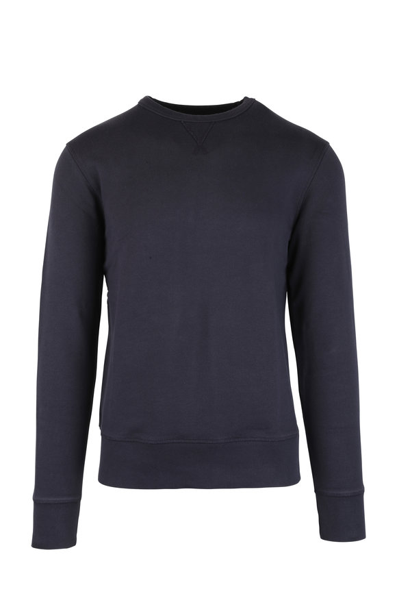 Officine Generale Navy Blue French Terry Sweatshirt