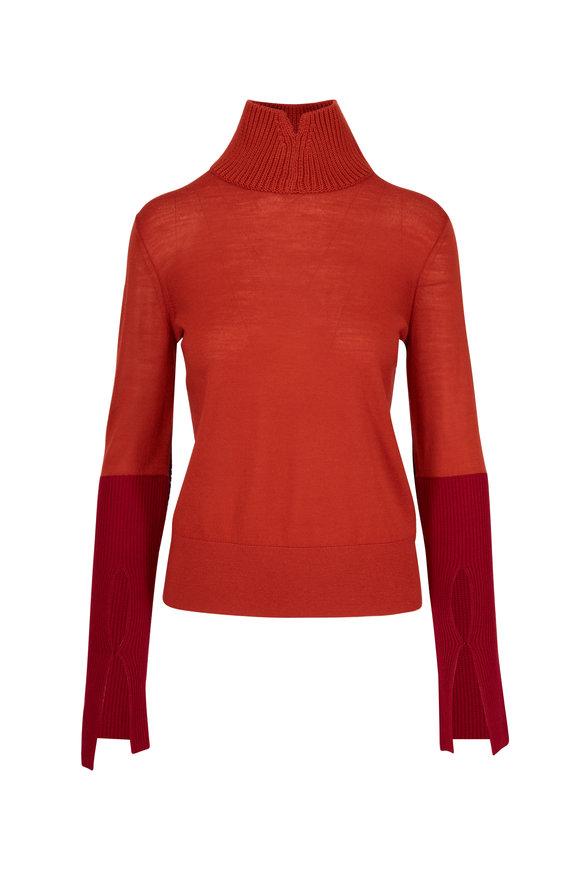 Dorothee Schumacher Magnified Orange Wool Turtleneck Sweater