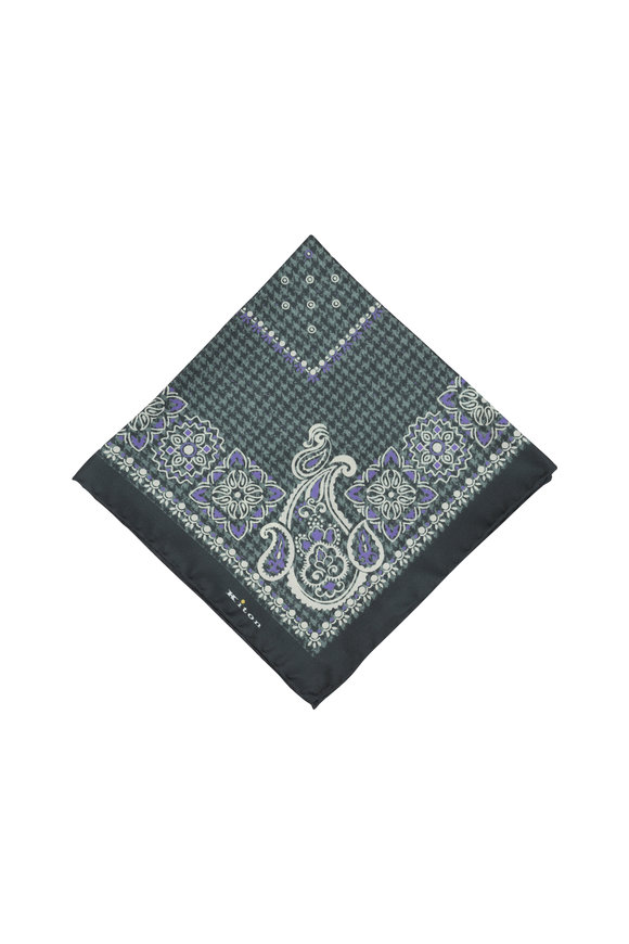 Kiton Gray & Purple Paisley Silk Pocket Square