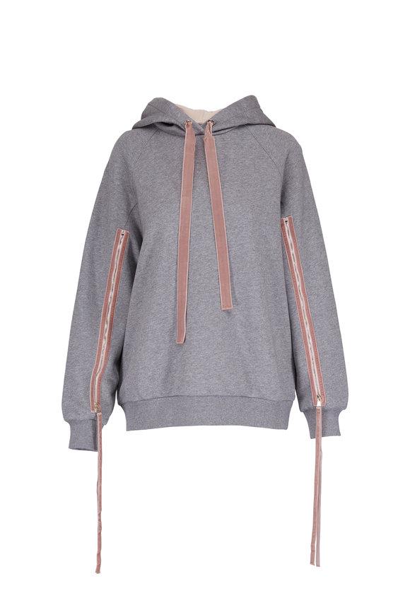 Dorothee Schumacher Cozy Gray Zip Detail Hooded Sweatshirt