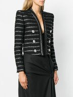 Balmain - Black & Metallic Striped Bouclé Short Jacket